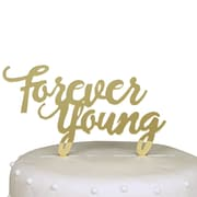 Unik Occasions Forever Young Birthday Acrylic Cake Topper; Gold