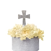 Unik Occasions Sparkling Cross Cake Topper; Silver