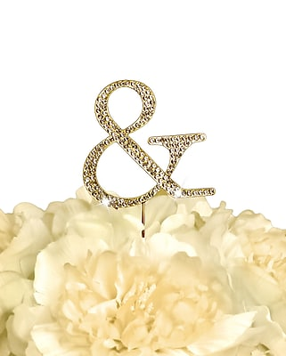 Unik Occasions Rhinestone Ampersand Wedding Cake Topper; Gold