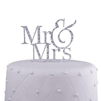 Unik Occasions Mr. & Mrs. Acrylic Cake Topper; Silver