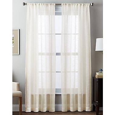 Highland Dunes Bristoly Sheer Solid Light Filtering Rod Pocket Single Curtain Panel; Ivory