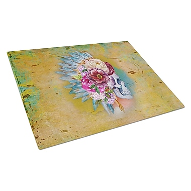 East Urban Home Rectangle Glass Flowers Skull Cutting Board