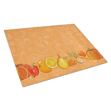 East Urban Home Fruits and Vegetables Rectangle Glass Cutting Board