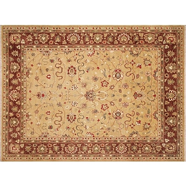 Darby Home Co Leann Hand-Knotted Rectangle Gold Indoor Area Rug