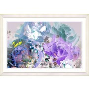Latitude Run  Purple Blue Pastel Scented Bloom  Framed Oil Painting Print; White