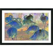Latitude Run  Blue Abstract Flamingos  Framed Oil Painting Print; Black