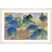Latitude Run  Blue Abstract Flamingos  Framed Oil Painting Print; White