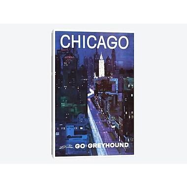 East Urban Home 'Chicago - Go Greyhound' Vintage Advertisement on Canvas; 18'' H x 12'' W x 0.75'' D