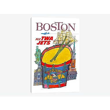 East Urban Home 'Boston - Fly TWA' Vintage Advertisement on Canvas; 26'' H x 18'' W x 1.5'' D