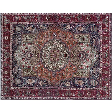 Astoria Grand Geri Fine Distressed Hand-Knotted Blue Area Rug