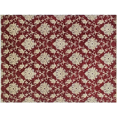 Astoria Grand Montague Hand-Knotted Red Area/Beige Rug