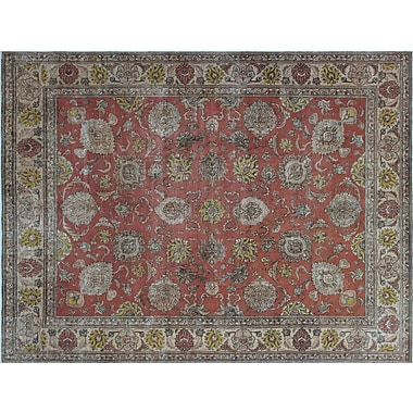 Astoria Grand Issey Overdyed Distressed Hand-Knotted Rust Area Rug