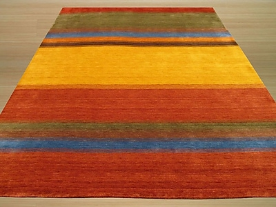 Eastern Rugs Gabbeh Hand Woven Wool Yellow/Red Area Rug; 4' x 6'