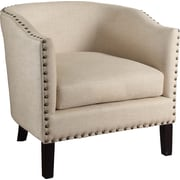 Charlton Home Bunker Hill Natural w/ Nailheads Barrel Arm Chair