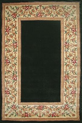 August Grove Valeriane Black Floral Border Area Area Rug; Runner 2'3'' x 9'6''