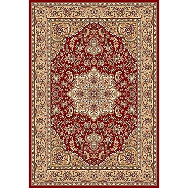 Astoria Grand Barwicks Red & Beige Medallion Area Rug; Round 7'7''