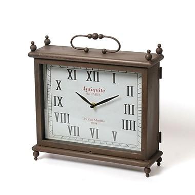 Horloge de table Adolfo carrée en métal, 11,5 x 3,75 x 12,5 po (9044-PX1815-CK)