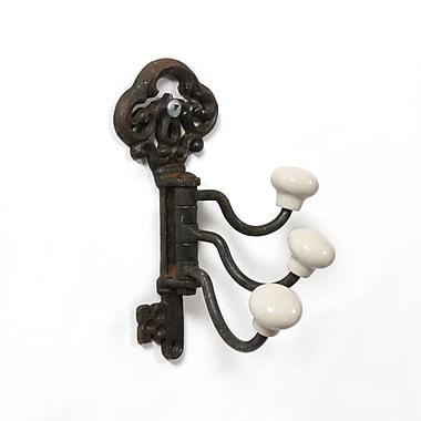 Support en forme de clé, 3 crochets, métal rustique, 6 x 5 x 2,5 po, 2/paquet (9044-TX6747-RS)