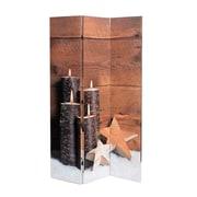 Cloison avec impression de 4 bougies et étoiles, 47,25 x 1,5 x 70,75 haut. (po) (2003-PX0455-00)