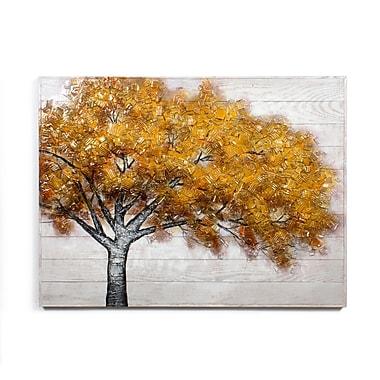 Toile représentant un arbre aux feuilles orangées, huile sur bois, 48 larg. x 36 haut. (po) (0013-PX1117-00)