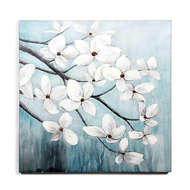 White Flowers In Wind Oil Painting Canvas, 40