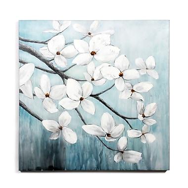 Toile représentant des fleurs blanches sous le vent, huile sur toile, 40 x 40 po (0013-PX1125-00)