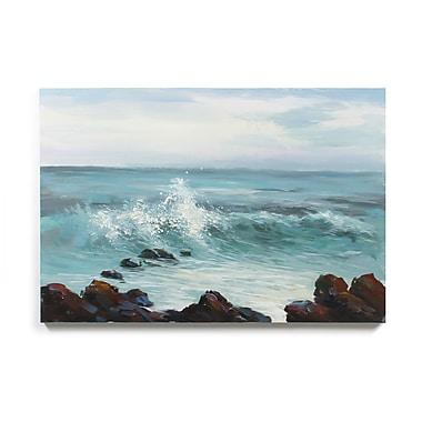 Toile représentant des vagues se brisant contre les rochers, huile sur toile, 48 larg. x 32 prof. (po) (2008-PX1737-00)