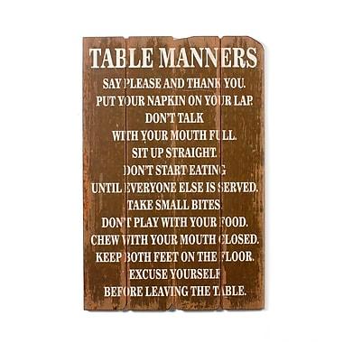 Plaque murale en bois avec inscription « Table Manners », 32,75 x 1,25 x 21,5 po (9044-PX1858-00)