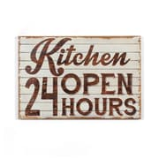 """Kitchen Open 24 Hours"" Wall Wooden Plaque, 30"" x 1.25"" x 19.75"" (9055-PX1168-00)"