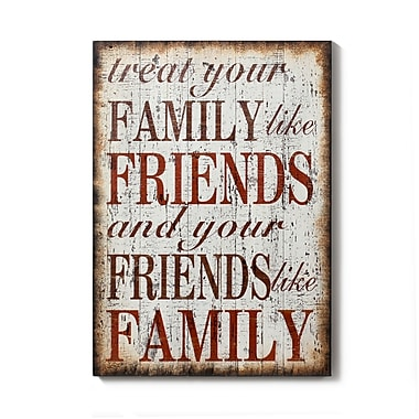 Plaque murale en bois avec inscription « Treat Your Family Like Friends », 19,5 x 1,75 x 27,5 po (9200-PX1056-00)