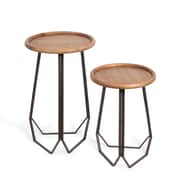 Wooden Top Round End Table, 2/Pack (7599-PX0965-S2)
