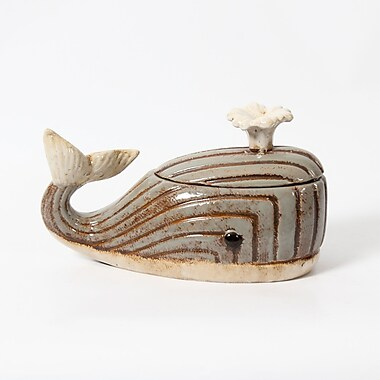 Boîte en céramique en forme de baleine, 12 x 5 x 6,75 po (2488-TX6156-00)