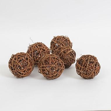 Décoration en forme de balle de rotin brune, 6/paquet (7603-TX7219-S6)