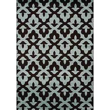 August Grove Rochers Geometric Lilypad Brown/Blue Area Rug; 7'10'' x 10'6''