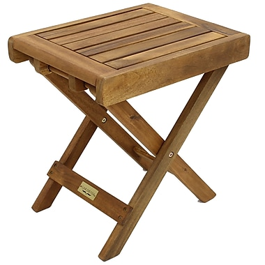 Cathay Importers Acacia Wood Folding Stool/End Table, Natural