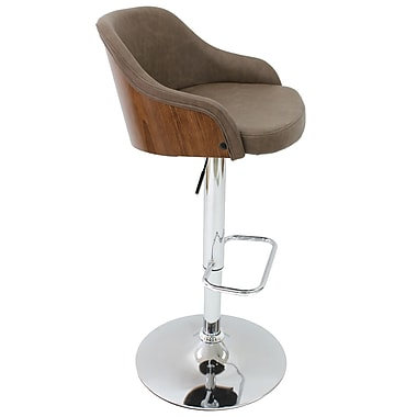 Cathay Importers Vintage Faux Leather Bentwood Swivel Counter/Bar Stool, Brown