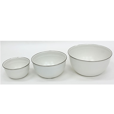 Cathay Importers White Powder Coated Carbon Steel Bowls, 3/Pack