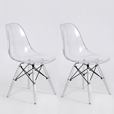 Volibear Dining Chair, Clear, 2/Pack