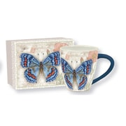 Lang ? Tasse de café en céramique avec un magnifique papillon sur une carte postale, 17 oz