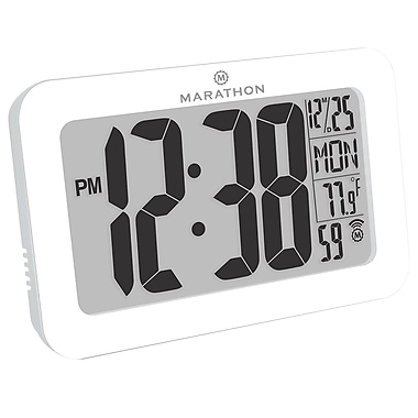 Marathon Atomic Wall Clock with 8 Time Zones, White (CL030033WH)