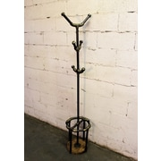 FurniturePipelineLLC San Antonio Coat Rack; Brushed Brass Gray/Natural