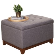 Alcott Hill Nunnally Upholstered Storage Cocktail Ottoman; Charcoal Gray