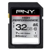 PNY High 32GB Performance Class 10 UHS1, U1 SD Flash Card, Black