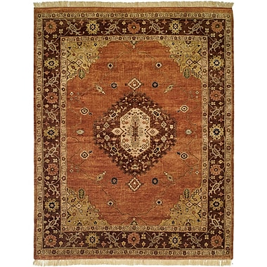 Wildon Home Hay Hand-Knotted Brown/Orange Area Rug; Runner 2'6'' x 10'