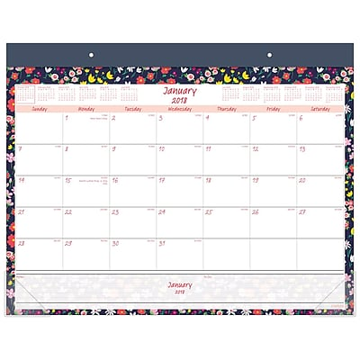 2018 Staples Monthly Desk Pad 21 34x17 Floral 2624918