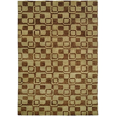 Wildon Home Minh Hand-Knotted Gold/Brown Area Rug; 6' x 9'
