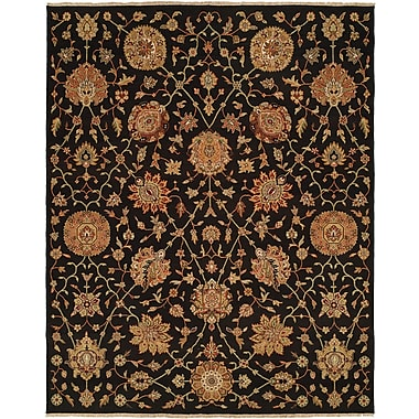 Wildon Home San Lorenzo Hand-Woven Black/Brown Area Rug; 2' x 3'