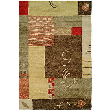 Wildon Home Lushunkou Hand-Knotted Ivory/Brown Area Rug; 2' x 3'