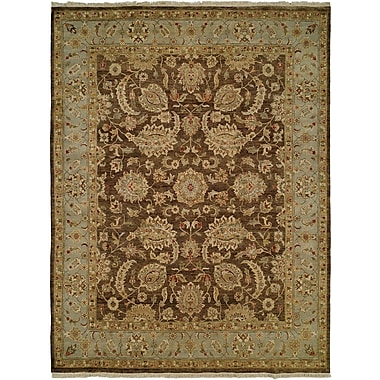 Wildon Home Shanghai Hand-Knotted Brown/Blue Area Rug; 5' x 7'