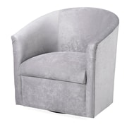 Latitude Run Galen Swivel Barrel Chair; Silver